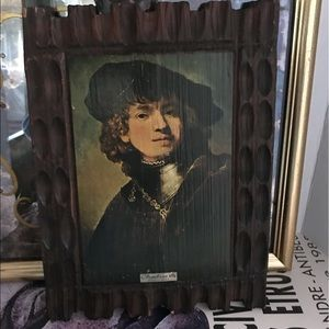 Vintage PYROGRAPHY of Rembrandt on wood wall decor